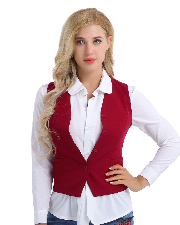 CHICTRY Women's V-Neck Sleeveless 4 Buttons Fully Lined Slim Fit Economy Dressy Suit Vest Waistcoat