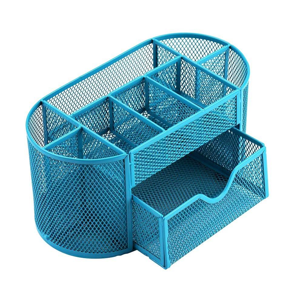 Jeash Storage Box ✿ Multi-Function Pen Pencils Mesh Holder Stationery Container Desk Tidy Organizer for Home School Office Decor (Blue)
