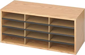 Safco Products Wood/Corrugated Literature Organizer, 12 Compartment, 9401MO, Medium Oak, Economical Organization, Letter-Size Compartments