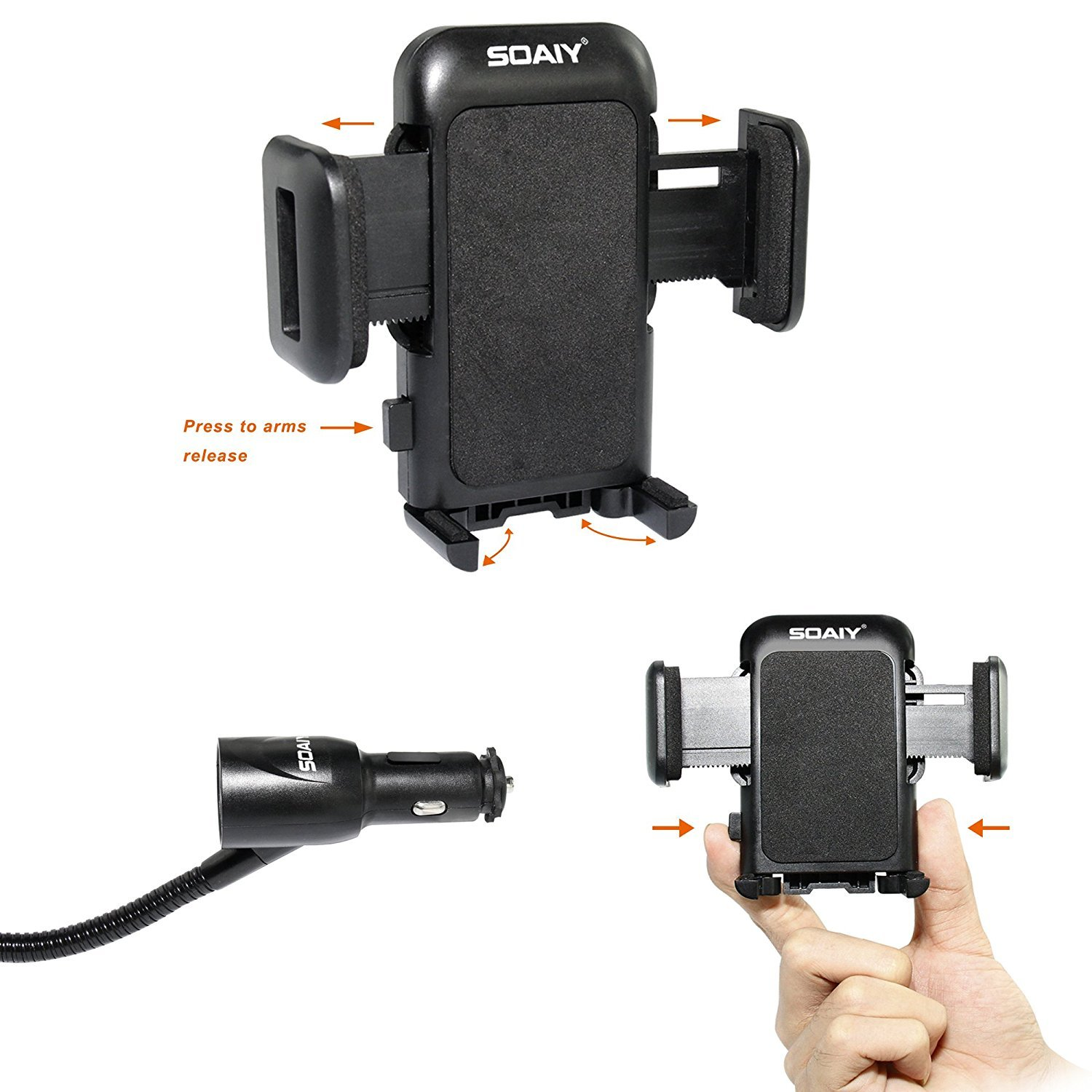 3-in-1 Cigarette Lighter Car Mount + Voltage Detector, SOAIY Car Mount Charger Holder Cradle w/Dual USB 3.1A Charger, Display Voltage Current Compatible with iPhone8 X 7 6s 6 5s Samsung S8 S7 S6 S5 by SOAIY (Image #5)