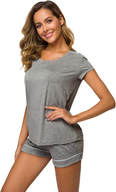 WiWi Women Bamboo Plus Size Sleepwear Soft Pjs Lace Tank Top with Shorts Pajamas Set S-4X