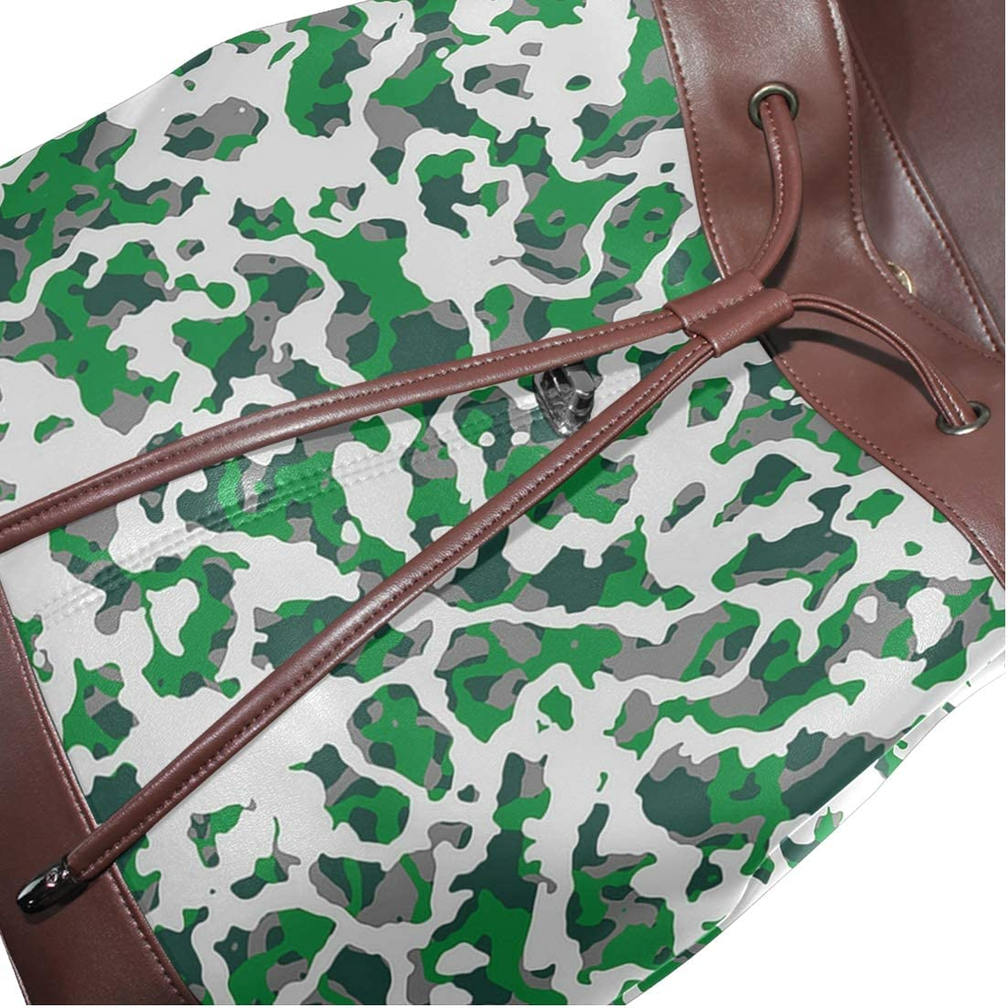 Unisex PU Leather Backpack Camo Green and Grey Print Womens Casual Daypack Mens Travel Sports Bag Boys College Bookbag
