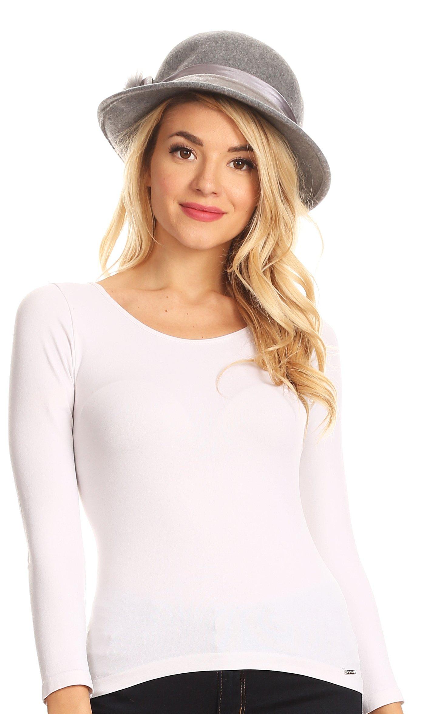 Sakkas 1798 - Tessa Wool Cloche Flapper Gatsby Hat with Satin Ribbon Adjustable - Gray - OS