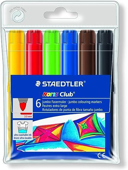 Staedtler Noris Club 340 WP6. Rotuladores de colores de punta de fibra. Estuche con 6 marcadores surtidos.: Amazon.es: Oficina y papelería