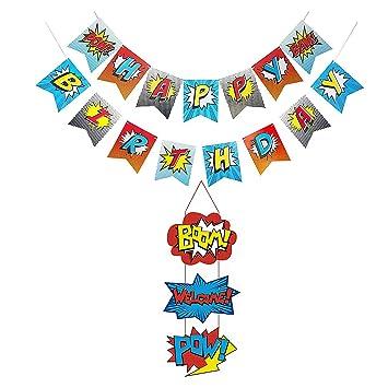 BJ-SHOP Feliz Cumpleaños Bandera,Banner de Fiesta Superhéroe ...