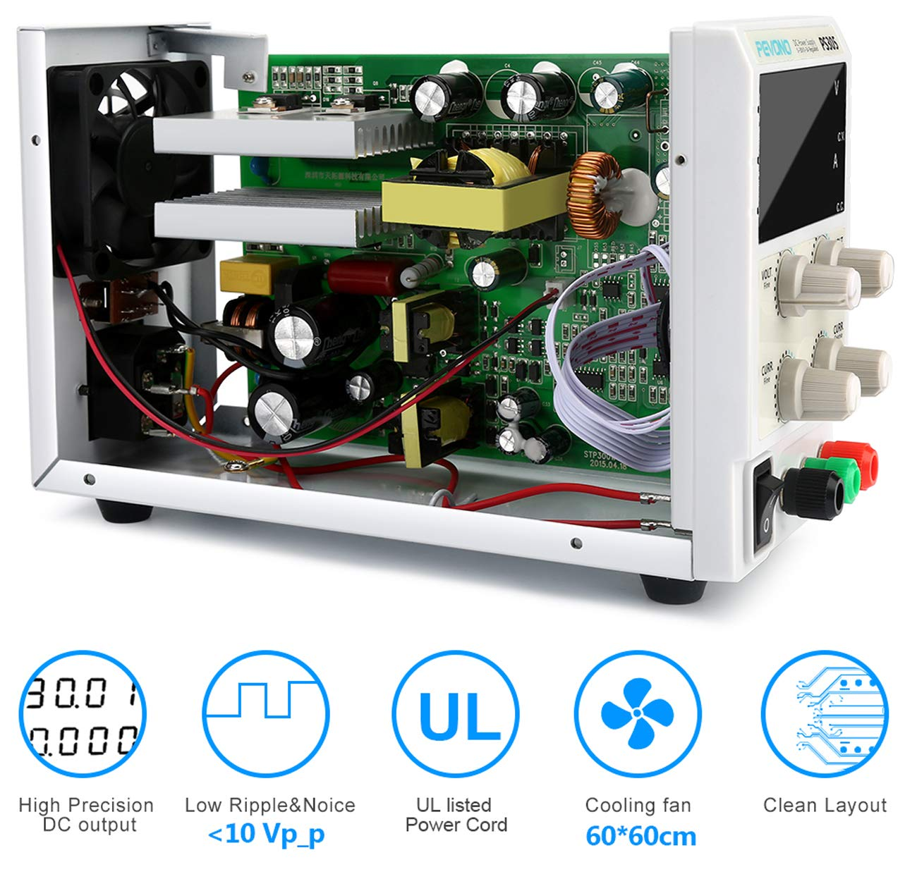 Best DC Bench Power Supply, Pevono PS305H 30V/5A 4 Digital LED Desktop Switching Variable Power Supply Voltage&Current Regulated Supply Power Source For Lab Repair,Electronic Tester, Power Calculator by Pevono (Image #4)