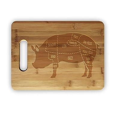 Pork Pig Meat Map Laser Engraved Bamboo Cutting Board - Wedding, Housewarming, Anniversary, Birthday, Holiday, Gift