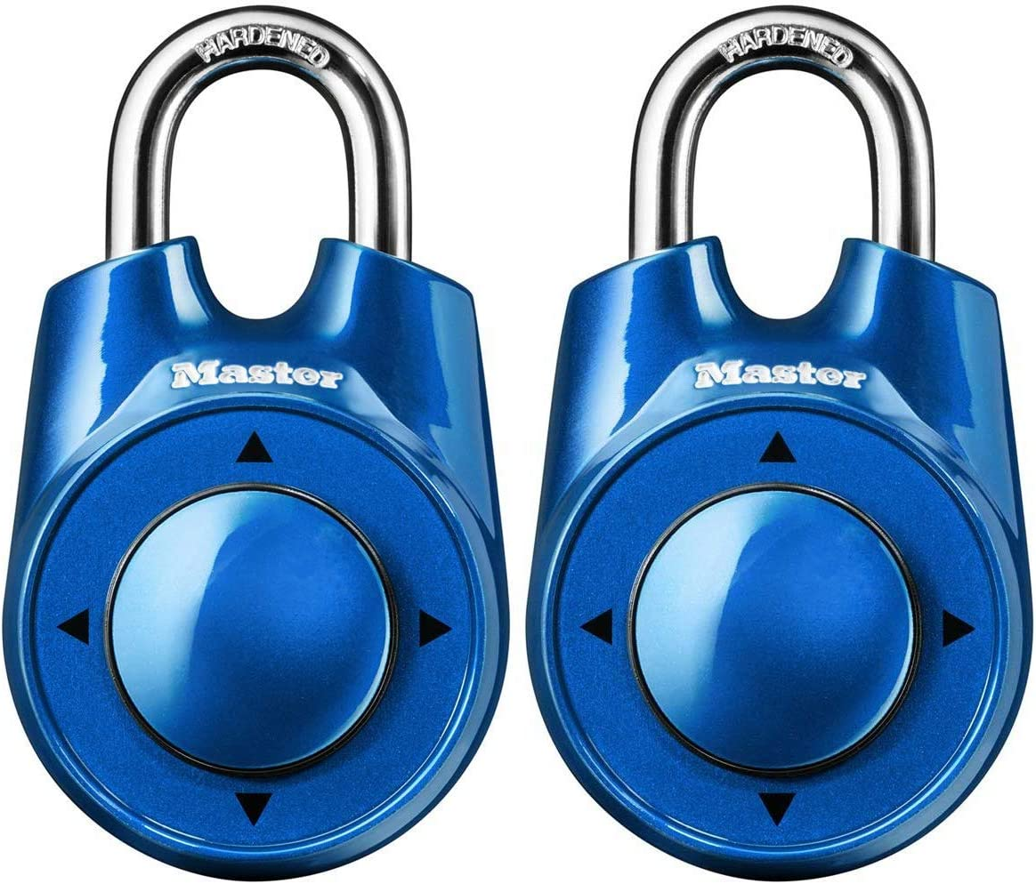 2 Pack Master Lock 1500iD Locker Lock Set Your Own Directional Combination Padlock Assorted Colors