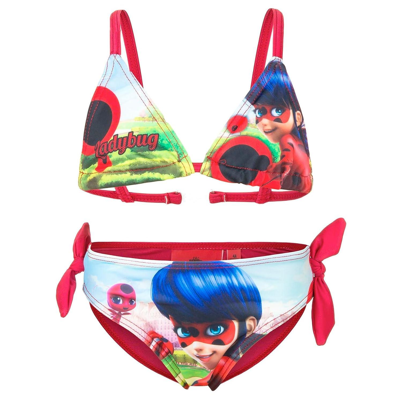 novit/à Prodotto Originale 555-019 Bambina Costume 2 Pezzi Bikini con Fiocchetti Full Print Mare Piscina Miraculous LadyBug e Cat Noir