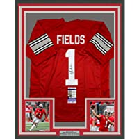 $599 » Framed Autographed/Signed Justin Fields 33x42 Ohio State Red College Football Jersey JSA COA