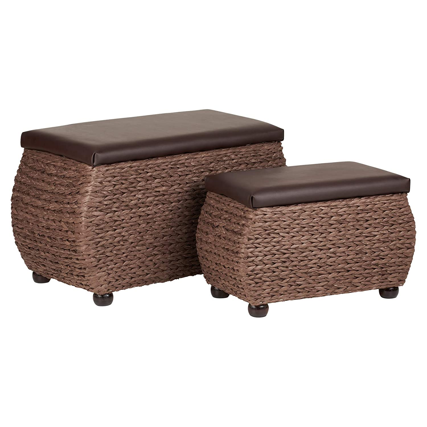 Hartleys Brown Woven Storage Trunks - Pair