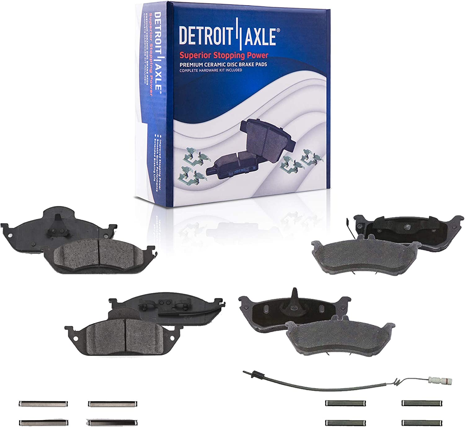 Front and Rear Ceramic Brake Pads w//Hardware for 1998-2003 Mercedes-Benz ML320// 2003-2005 ML350// 1999 ML430 Detroit Axle Built After 11//98