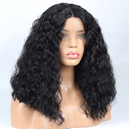 vvBing Short Black Curly Bob Cut Lace Front Wigs Glueless Synthetic Wigs Short Hair Natural Looking