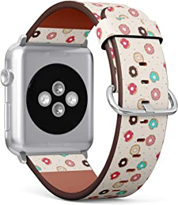 Compatible with Small Apple Watch 38mm & 40mm (All Series) Leather Watch Wrist Band Strap Bracelet with Stainless Steel Clasp and Adapters (Donuts)