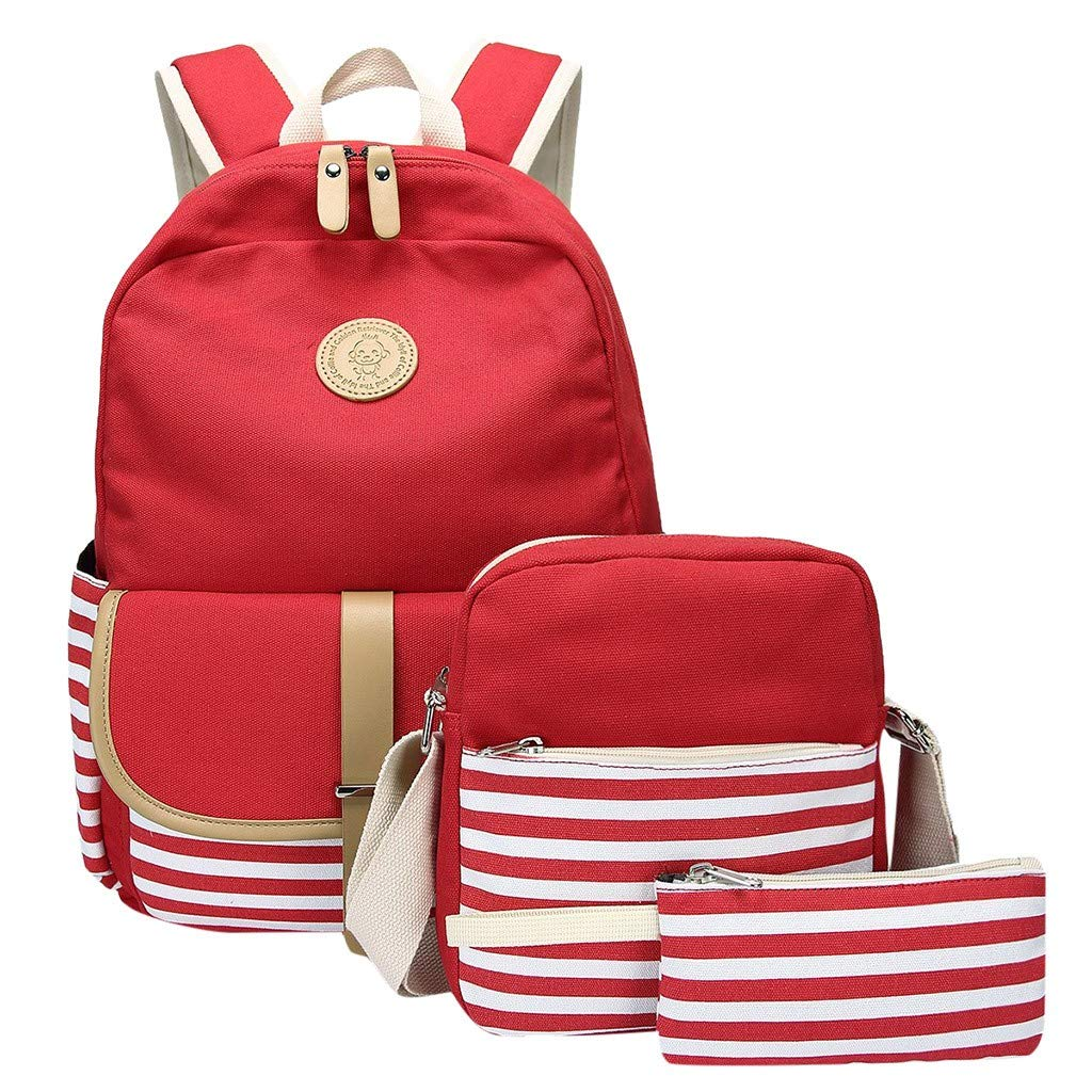 Lightweight Backpack for School, 3PC Women Ladies Girl Canvas Laptop Striped HandbagShoulderBackpack Purse Bags for Middle High School College Student Boby Girls Boys Teen by Yezijin School Supplies