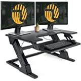 "Standing Desk Converter with Height Adjustable - FEZIBO Sit to Stand up Desk Riser 36"" Black Computer Workstation Dual Monitor Desktop Lifter"