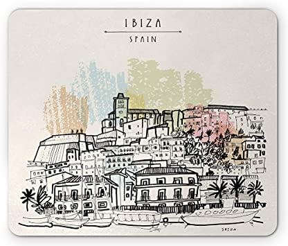 Alfombrilla de ratón Ibiza, Estilo boceto Islas Baleares España ...