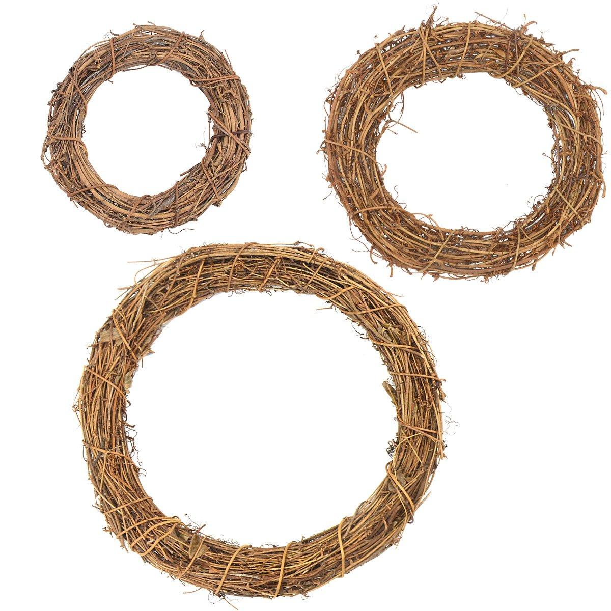 3Pcs Natural Dried 20cm Round Rattan Handmade Garland Wreath Xmas Wedding Home Garden Decor GardeningWill