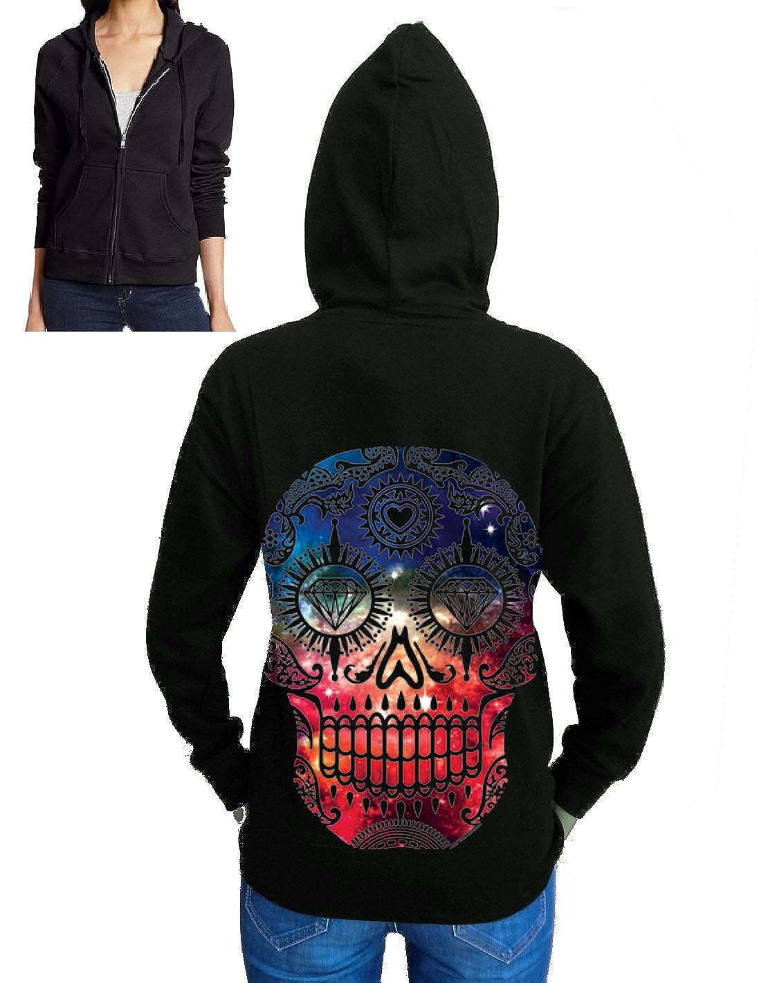 New Galaxy Skull Zipper Hoodie Fleece Juniors S-2XL Black