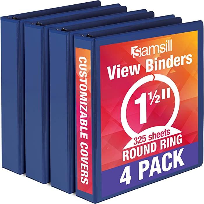 Samsill Economy 3 Ring Binder Organizer, 1.5 Inch Round Ring Binder, Customizable Clear View Cover, Blue Bulk Binder 4 Pack (MP48552)