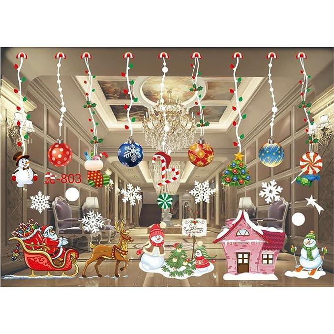 HENGSONG Boule de Noël Couleur Noël Fenêtres Vitrine Muraux Autocollants de Mur Christmas Décor