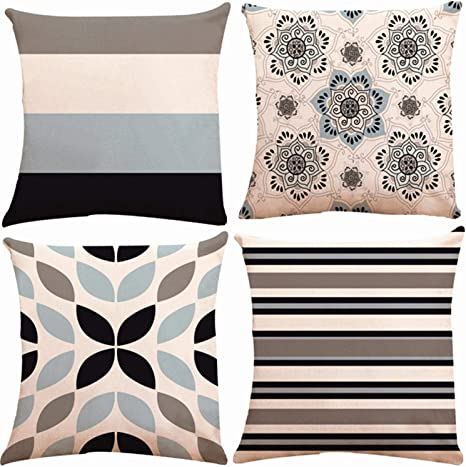 Amazon Com Zuext Geometric Throw Pillow Covers 18x18 Inch Double Side Design Set Of 4 Cotton Linen Indoor Outdoor Modern Accent Pillow Case Cushion Cover For Car Sofa Home Decor Navy Grey Floral Mix