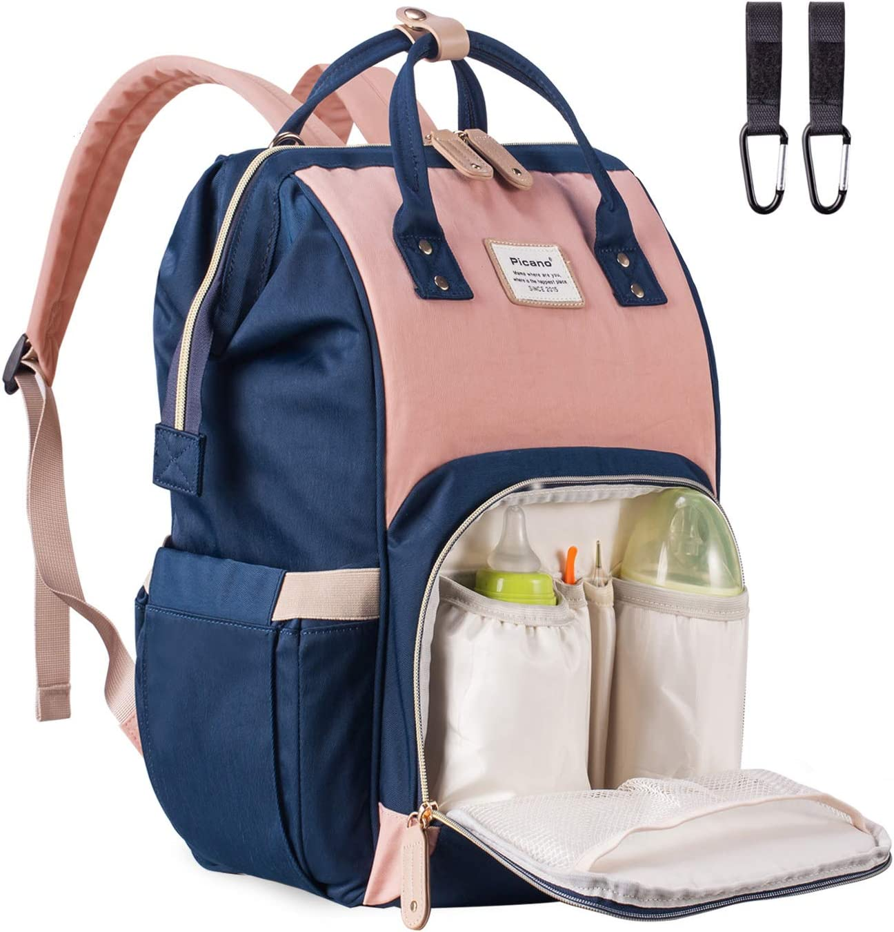 Pink /& Blue Acdyion Travel Multi-Function Large Nappy Bag with Insulated Pocket for Mom Baby Bag Changing Backpack Waterproof