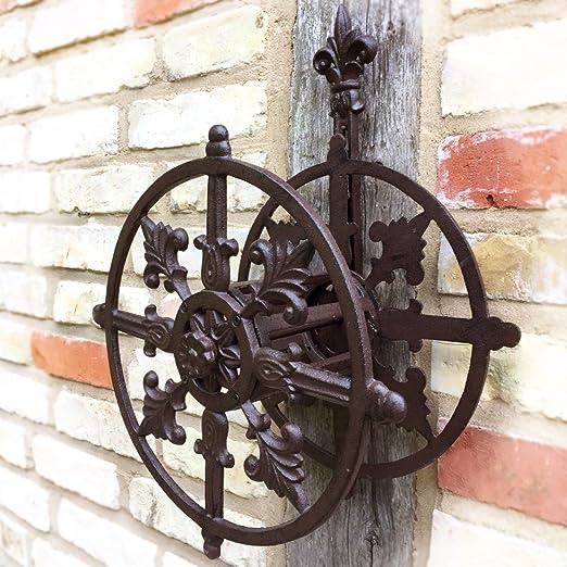 Antikas - soporte de pared para manguera de jardin - soporte manguera decorativo - portamanguera hierro fundido: Amazon.es: Jardín