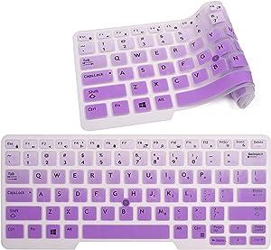 Keyboard Cover Compatible with Dell Latitude E7450 E7470 E5470 E7480 5480 5490 7480 7490 with Pointing, Ultra Thin Soft Silicone Dell Latitude 7490 Keyboard Protector Skin(Gradual Purple)