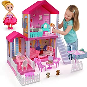 aotipol Dollhouse Dreamhouse with Cloister, Stairs and Yard - Doll House and Furniture, Accessories, Pets, Doll - DIY Dollhouses Pretend Play Toys for Girls Kids Indoor