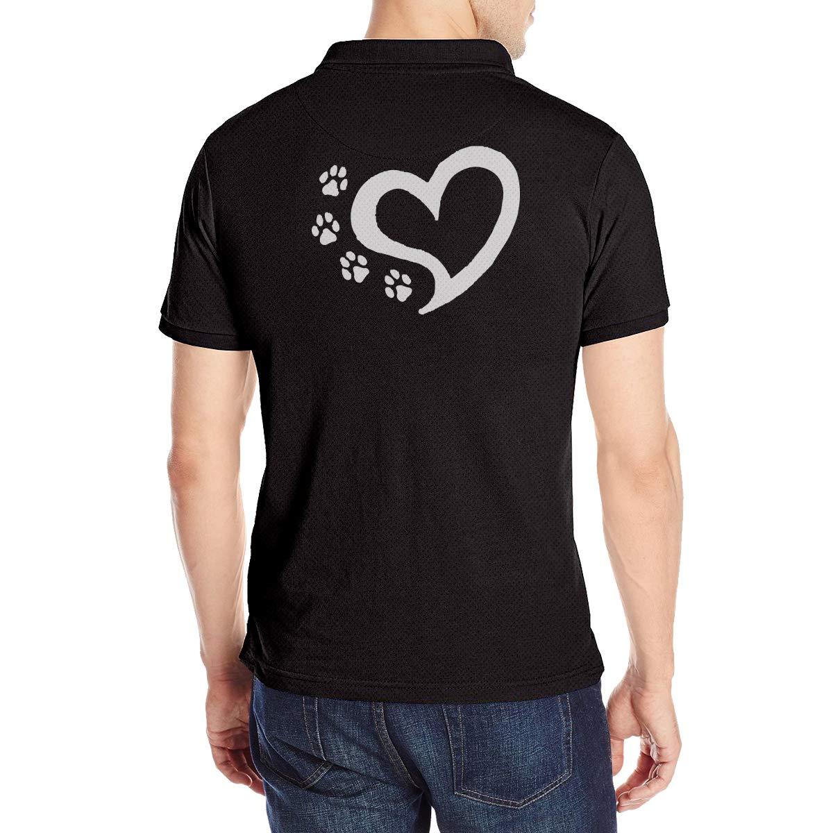 Cat Dog Paw Prints Heart 1 Mens Short Sleeve Polo Shirt Regular Blouse T-Shirt