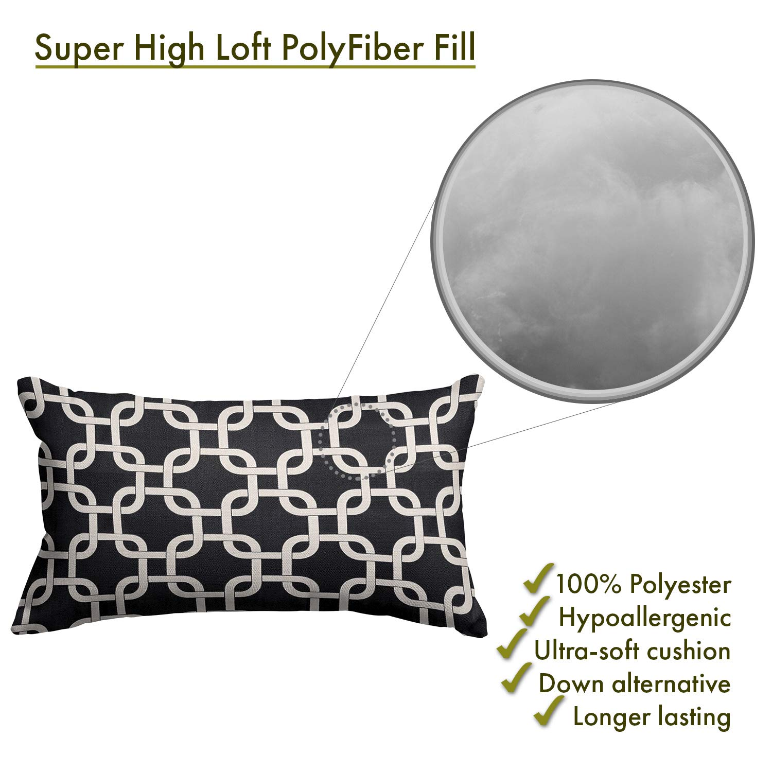 Majestic Home Goods Black Links Pillow, Small