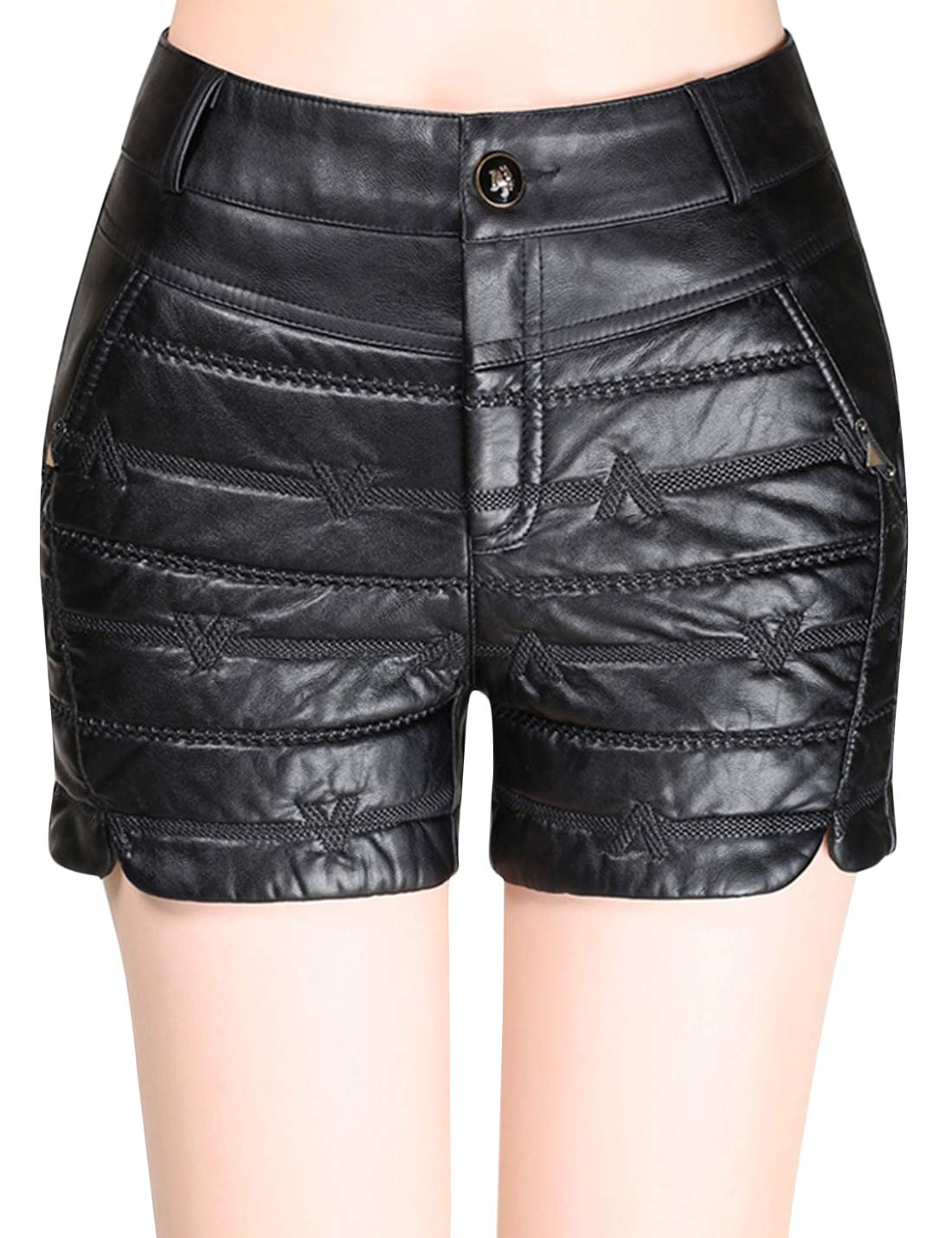 Uaneo Women's Basic Winter Thicken Quilted PU Faux Leather Shorts (X-Small, Black)