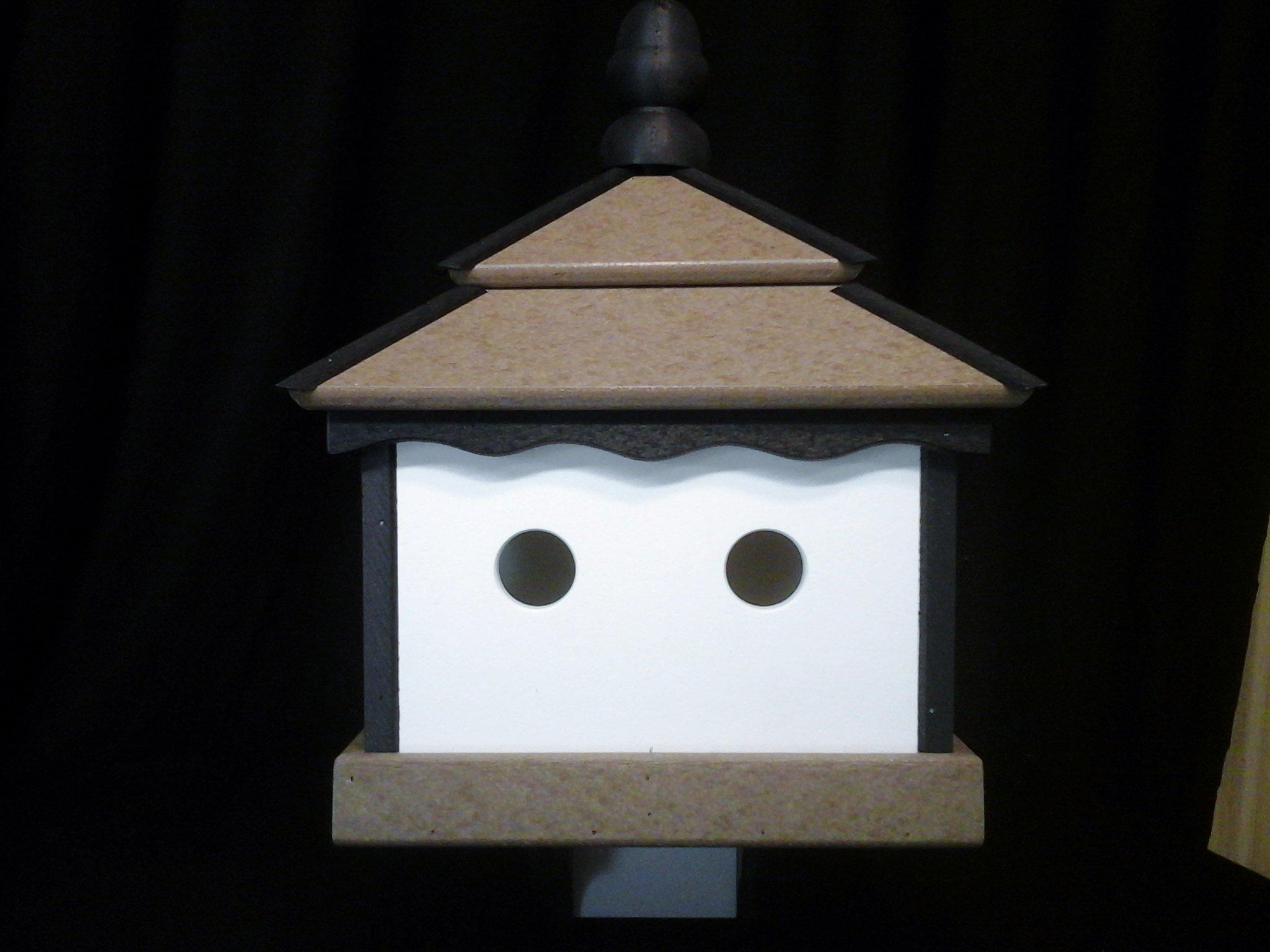 Square Poly Bird House Amish Gazebo Handcrafted Homemade Weatherwood-Black-White