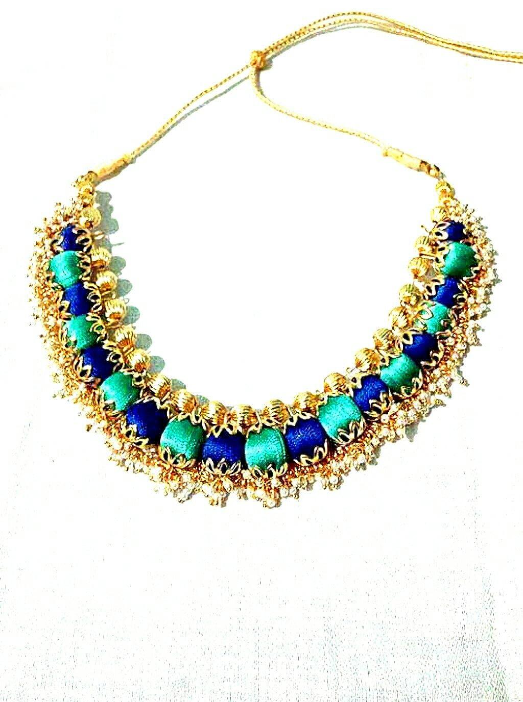 Buy Light Blue And Dark Blue Colour Silk Thread Necklace
