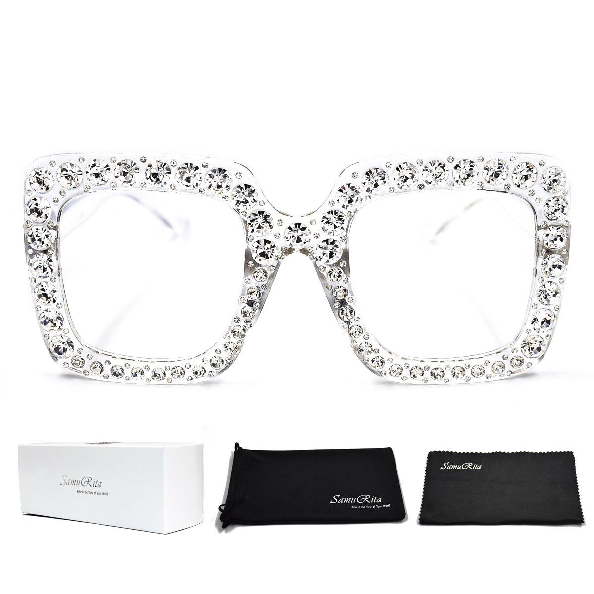 SamuRita Elton Square Diamond Rhinestone Sunglasses Novelty Oversized Celebrity Shades(Clear Frame/Clear Lens)