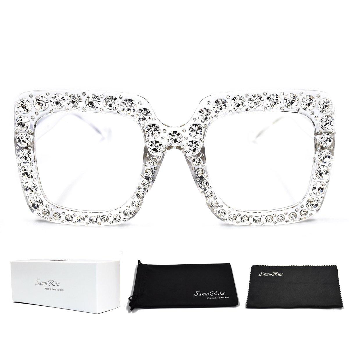 SamuRita Elton Square Diamond Rhinestone Sunglasses Novelty Oversized Celebrity Shades(Clear Frame/Clear Lens) by SamuRita