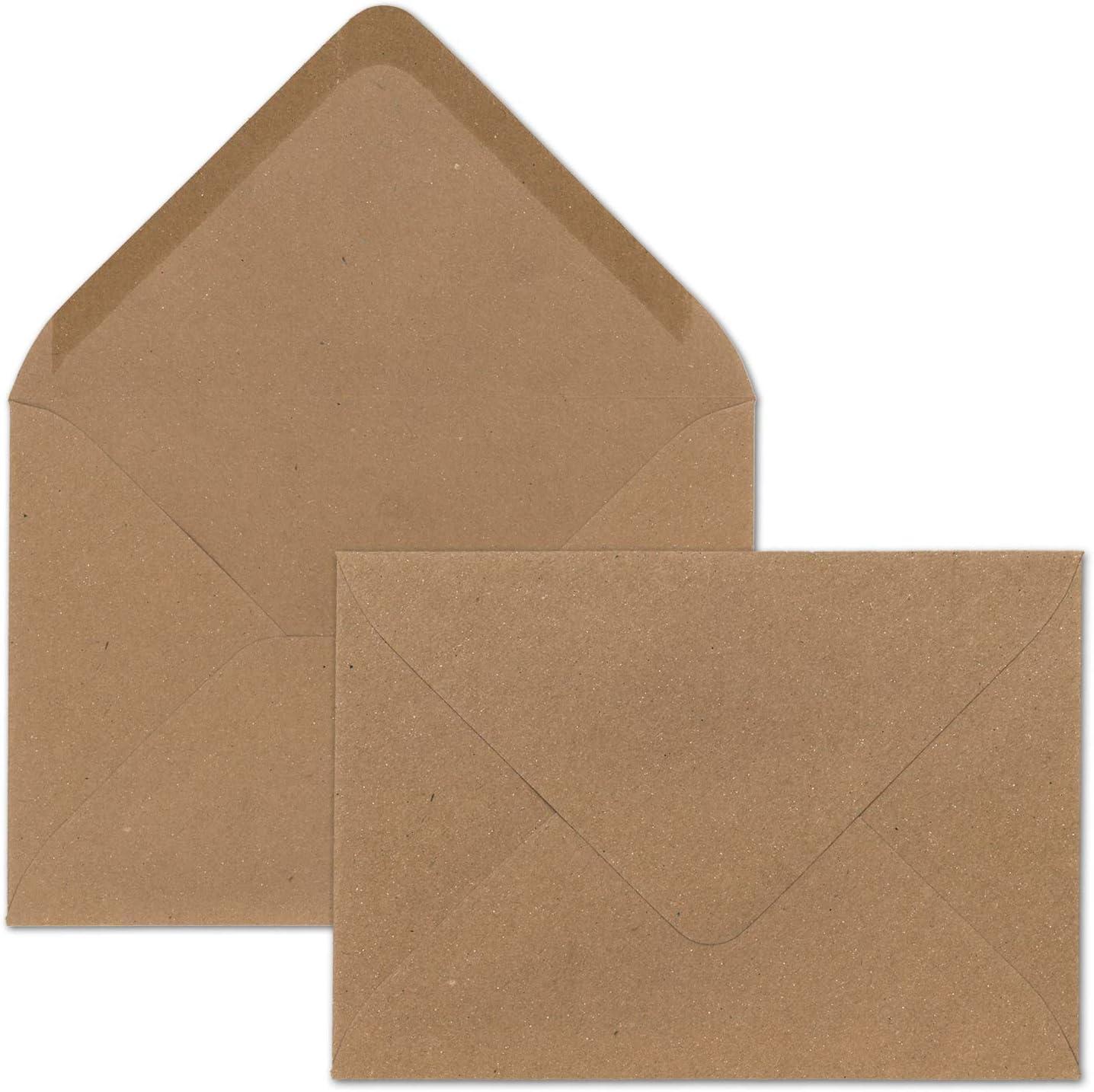 Recycling Klapp-Karten Braun 100x braunes Vintage Kraftpapier Falt-Karten Set mit Umschl/ägen DIN A6-10,5 x 14,8 cm blanko