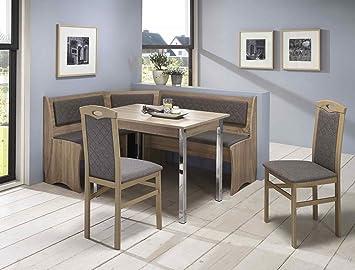 Expendio Eckbankgruppe Boston Sonoma 2x Stuhl Eckbank Tisch Verchromte  Beine Truheneckbank Essgruppe Truhenbank Esszimmer