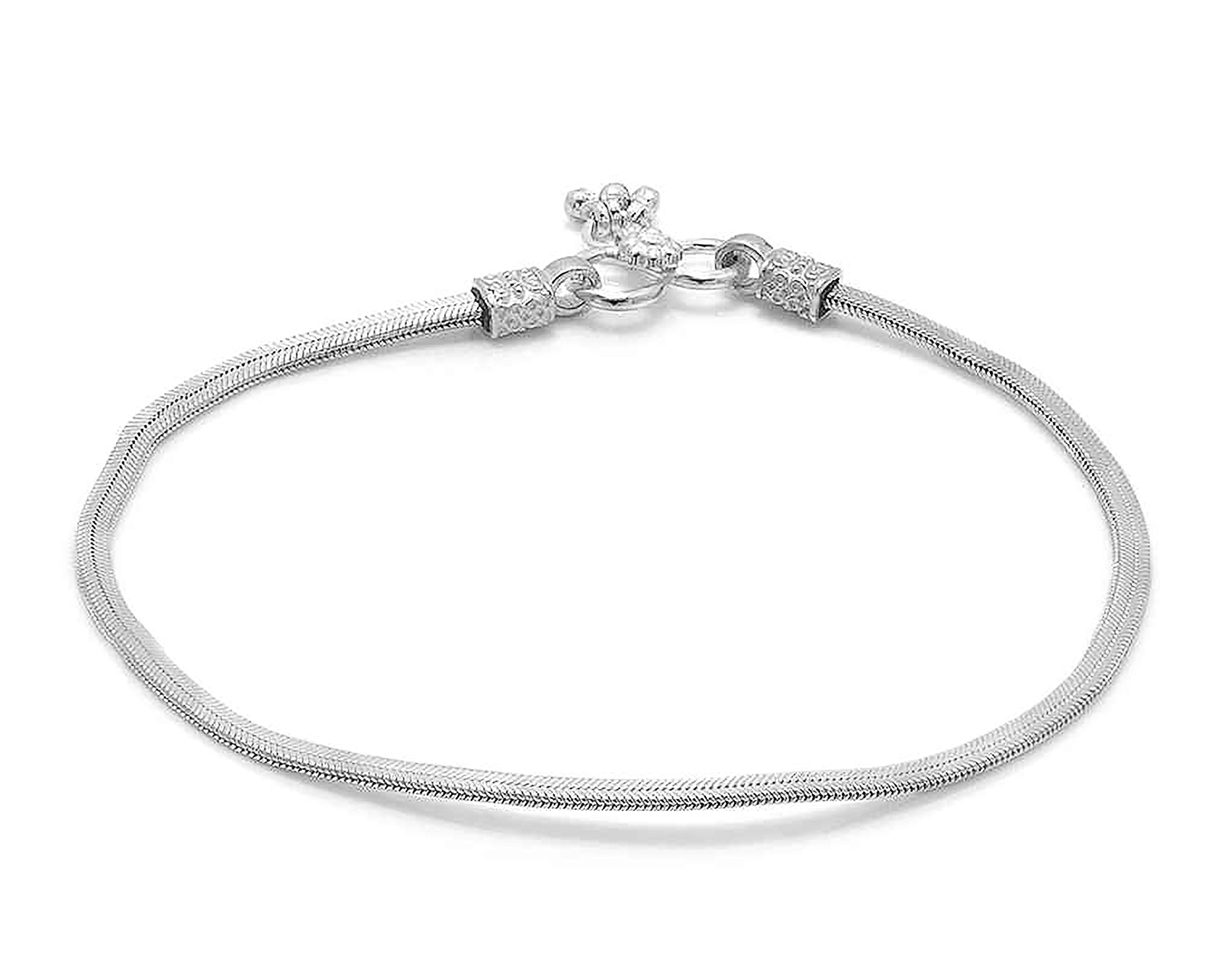 D&D Crafts Sterling Silver Link Anklets For Girls, Women by D&D (Image #2)