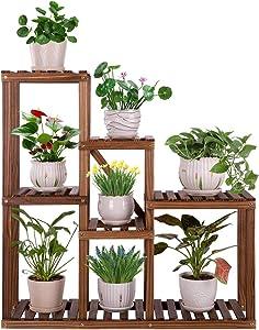 Ufine Multi-Tier Wood Plant Stand Indoor Outdoor Ladder Plant Display Shelf 6 Tier Plant Storage Rack Organizer for Patio Garden Balcony Living Room