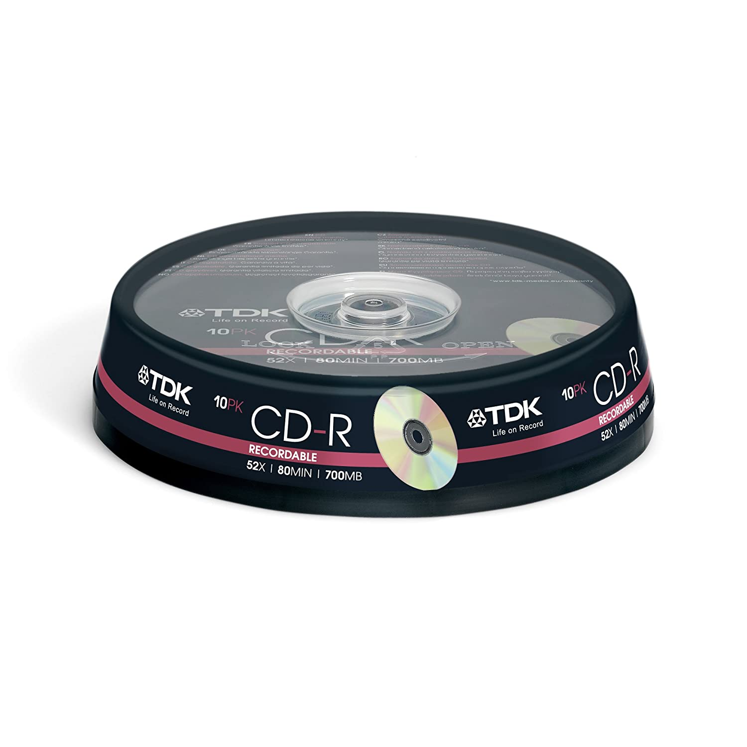 TDK CD-R80CBA10-B CD-R 80min 52x 10 Pack Spindle: Amazon.co.uk