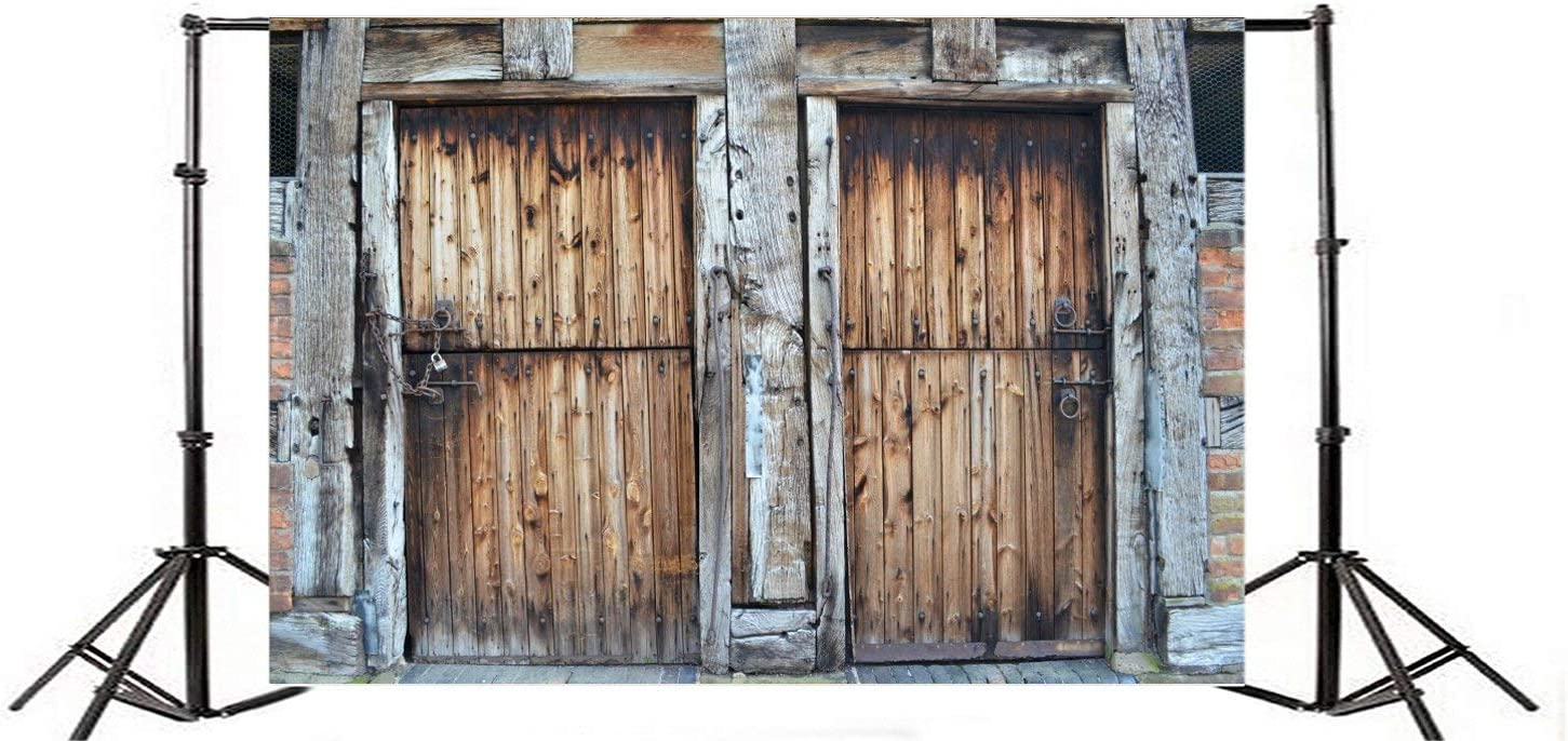 GoEoo 7x5FT Vinyl Backdrop Historic Door Threshing Barn Photography Background Two Doors Wooden Wall Texture Weathered Grunge Background Rustic Countryside Children Portraits Background Photo