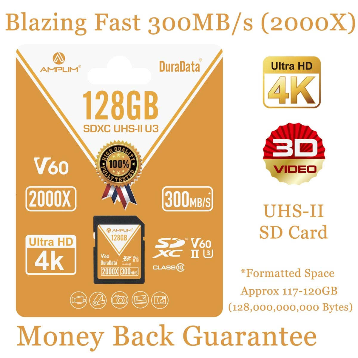 128GB V60 UHS-II SDXC SD Card - Amplim Blazing Fast 300MB/S (2000X) UHS2 Extreme High Speed 128 GB/128G SD XC Memory Card. 4K 8K Video Camera UHSII Card for Fujifilm, Nikon, Olympus, Panasonic, Sony by Amplim