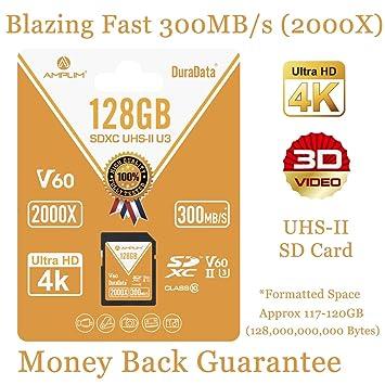 128GB V60 UHS-II SDXC SD Card - Amplim Blazing Fast 300MB/S (2000X) UHS2 Extreme High Speed 128 GB/128G SD XC Memory Card. 4K 8K Video Camera UHSII ...