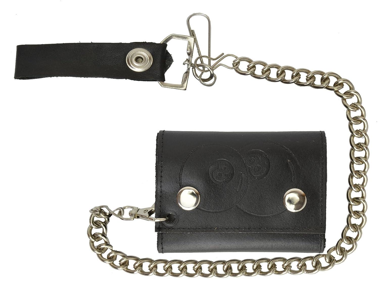 100/% Leather Tri-fold Chain Wallet Black #946-14