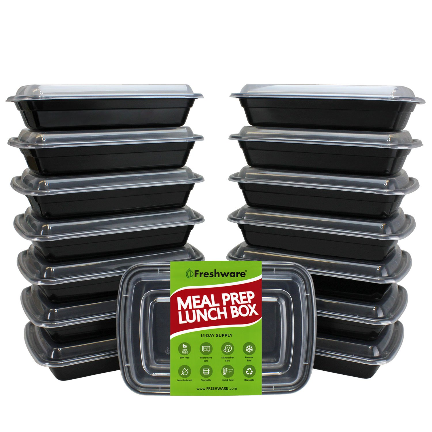 Freshware Meal Prep Containers [15 Pack] 1 Compartment with Lids, Food Containers, Lunch Box | BPA Free | Stackable | Bento Box, Microwave/Dishwasher/Freezer Safe, Portion Control, 21 day fix (28 oz) YH-1X15