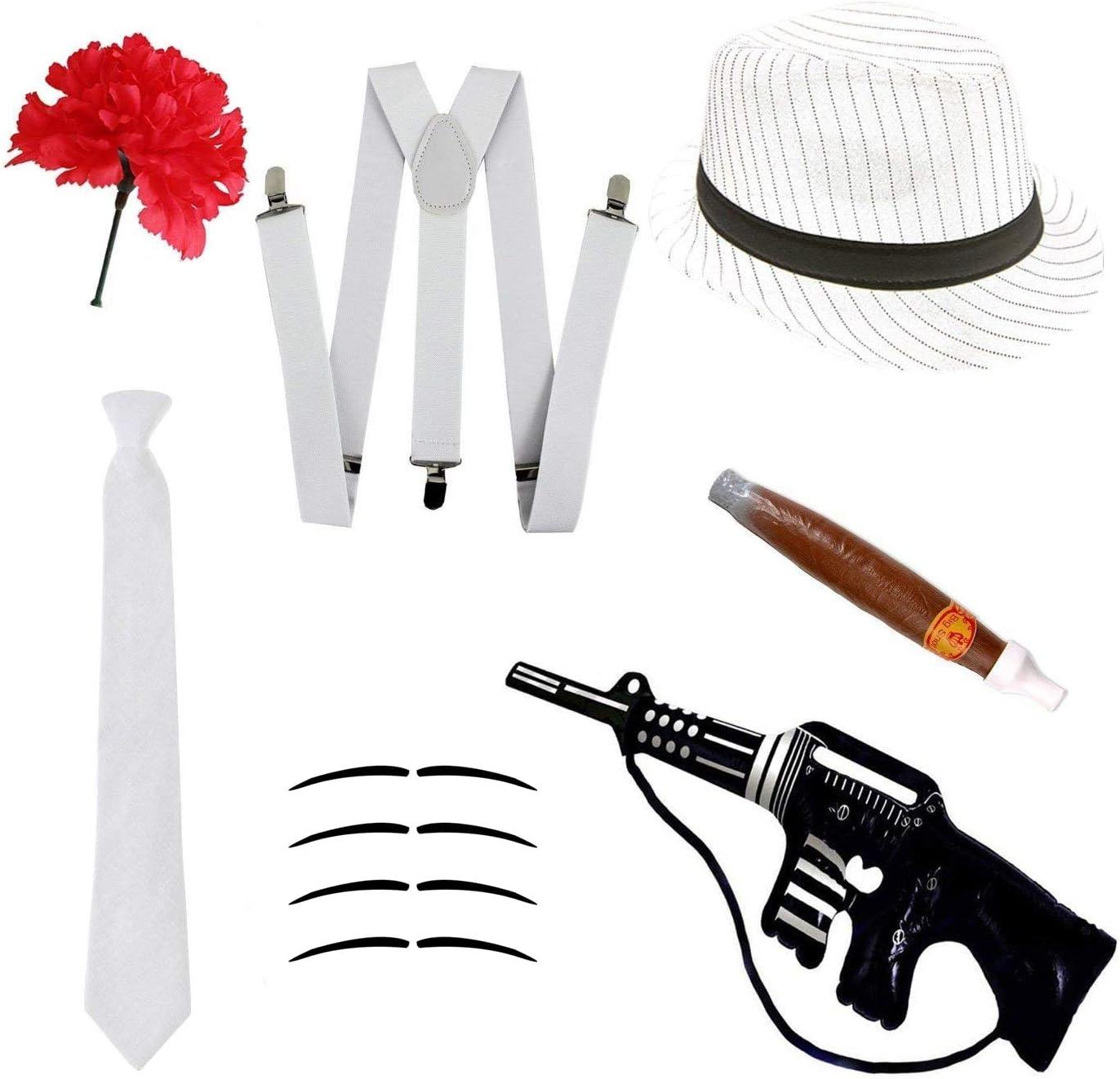 Zigarre Gangster Fancy Kleid Set-Trilby Hut Krawatte Schnurrbart /& Nelke Hosentr/äger
