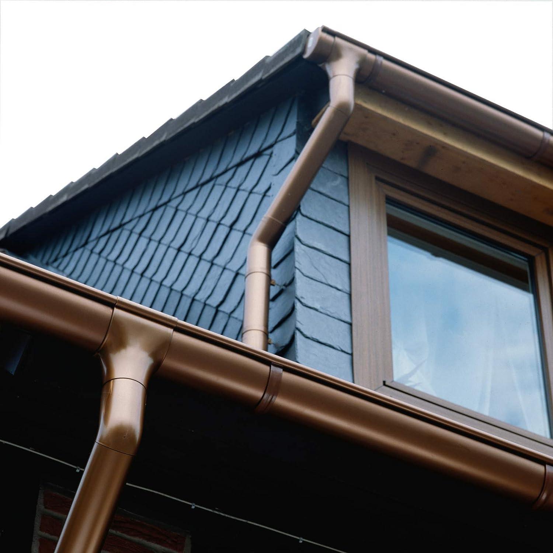 Marley Dachrinnen Set Duplexrinne Rg 70 2x5m braun mit Fallrohr Dachrinne Rinnensatz Regenrinne