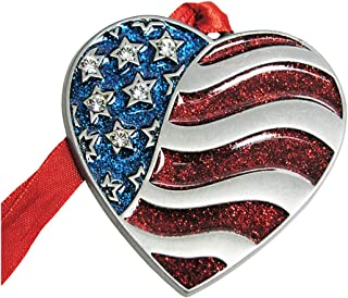 product image for 2020 American Flag Patriotic Pewter Christmas Tree Ornaments. Various Styles (Heart Flag)